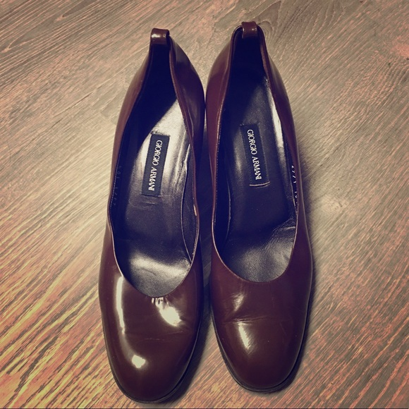 Giorgio Armani Shoes - Vintage Giorgio Armani Brown Leather Heels Size 9